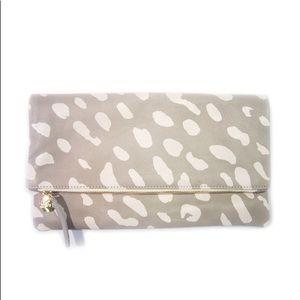 Clare V Foldover Clutch in Grey and Cream Jaguar